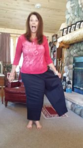 Great visual! Debbie Dittrich now fits into one leg of old pants!