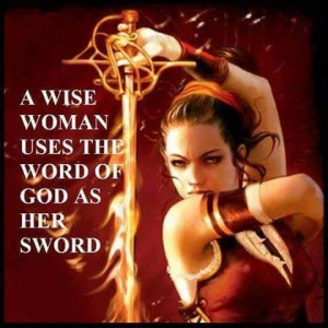Woman with sword of the spirit