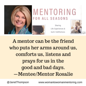 Mentoring Helps in Seasons of Tragedy and Uncertainty. A mentor can share from her experience and comfort and pray with a troubled mentee.